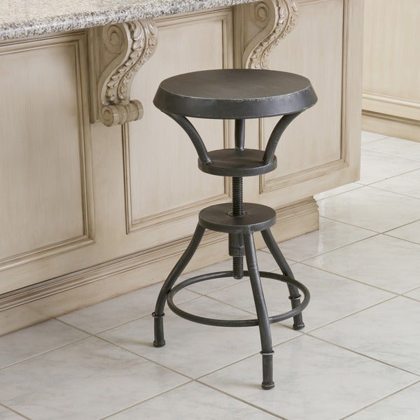 Lucian Rustic Iron Top Adjustable Barstool