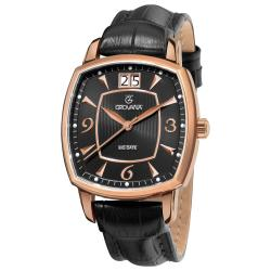 Grovana Men's 1719.1567 Rose Goldtone Stainless Steel Black Strap Watch