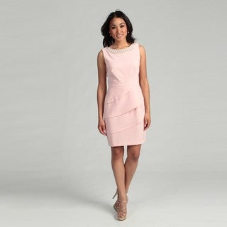 Connected Apparel Women's Blush Beaded Tier Dress