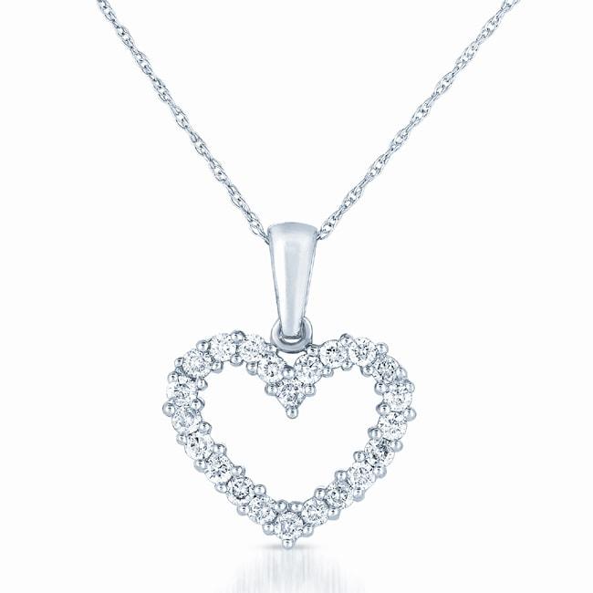 14k White Gold 1/2ct TDW Diamond Heart Necklace (H-I, I1-I2)