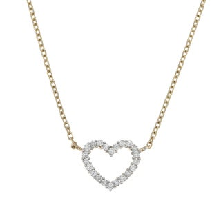 14k Yellow Gold 1/3ct TDW Diamond Heart Necklace (H-I, I1-I2)