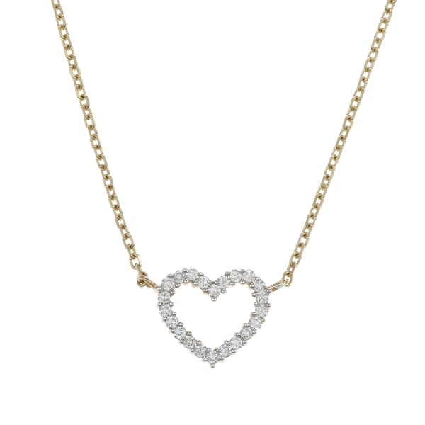 14k Yellow Gold 1/3ct TDW Diamond Heart Necklace (H-I, I1-I2)