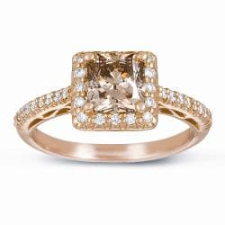 14k Gold 1 3/4ct Certified Champagne Diamond Halo Ring (G-H, SI1-SI2)