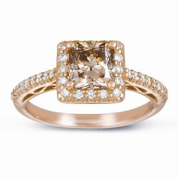 14k Gold 1 3/4ct Certified Champagne and White Diamond Halo Ring (G-H, SI1-SI2)