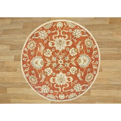 Alliyah Handmade Rusty Orange New Zealand Blend Wool Rug (8' Round)