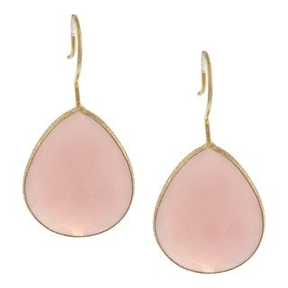 22k Yellow Gold Overlay Rose Quartz Dangle Earrings (28ct TGW)