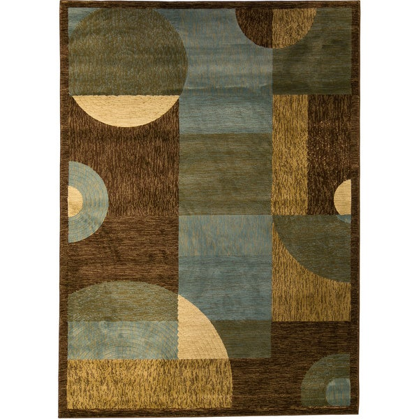 Abstract Circles and Boxes Blue Area Rug (2'7 x 3'11)
