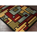 Mozart Squares Red and Blue Area Rug (2'7 x 3'11)