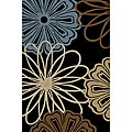 Mandly Flowers Black and Blue Area Rug (2'7 x 3'11)