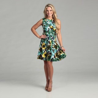 Connected Apparel Women's Green Floral Seam Dress