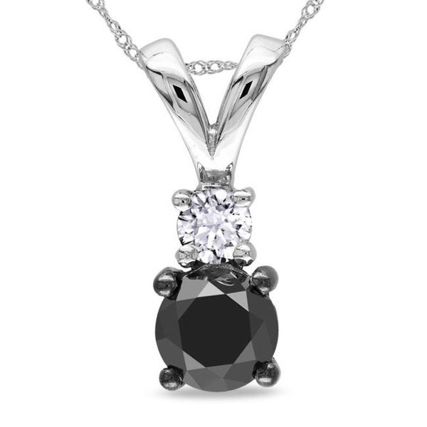 Miadora 10k White Gold 1ct TDW Black and White Diamond Necklace (H-I, I3)