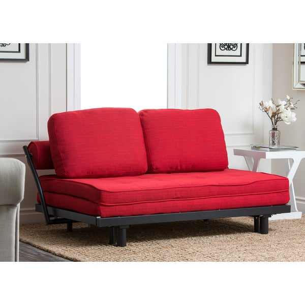 Abbyson Living Florence Red Fabric Convertible Sofabed