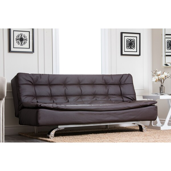 ABBYSON LIVING Modena Dark Brown Convertible Euro Sofa Lounger