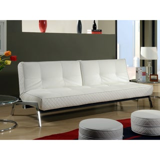Abbyson Living Venice White Convertible Euro Sofa Lounger