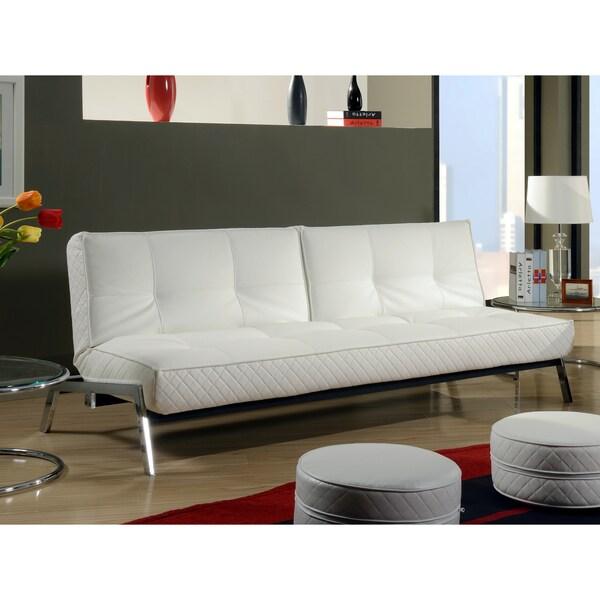 Abbyson Living Venice White Convertible Euro Sofa Lounger