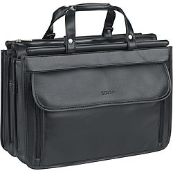 Solo Black Quad Gusseted Compartment Polyvinyl Portfolio Case
