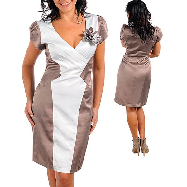 Stanzino Women's Plus Mocha/ White Satin Colorblocked Dress