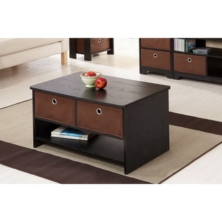 Furniture of America Fresno Collection Removable Fabric Storage Box Coffee Table