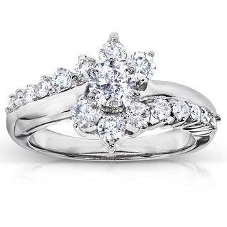 Annello 14k White Gold 1ct TDW Floral Diamond Engagement Ring (H-I, I1-I2)