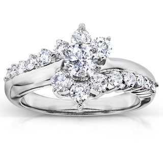 Annello 14k White Gold 1ct TDW Floral Round Diamond Ring (H-I, I1-I2)