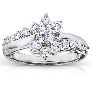 Annello 14k White Gold 1ct TDW Floral Round Diamond Ring (H-I, I1-I2) with Bonus Item