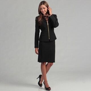 Tahari Women's Black Goldtone Zipper Skirt Suit