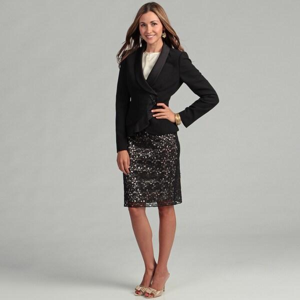 Tahari Women's Black/ Champagne Lace Skirt Suit