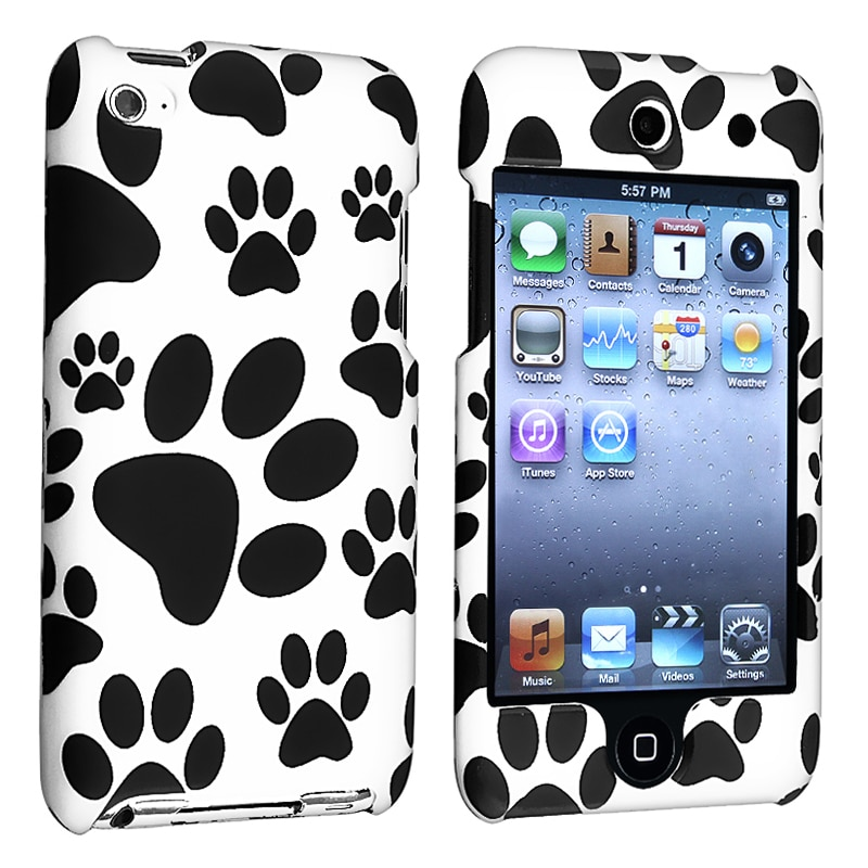 INSTEN Black/ White Paw Snap-on Rubber iPod Case Cover for Apple iPod Touch Generation 4