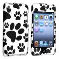 Black/ White Paw Snap-on Rubber Case for Apple iPod Touch Generation 4