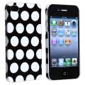 Black with White Dot Rear Snap-on Case for Apple iPhone 4/ 4S