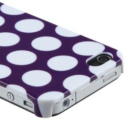 Purple with White Dot Rear Snap-on Case for Apple iPhone 4/ 4S