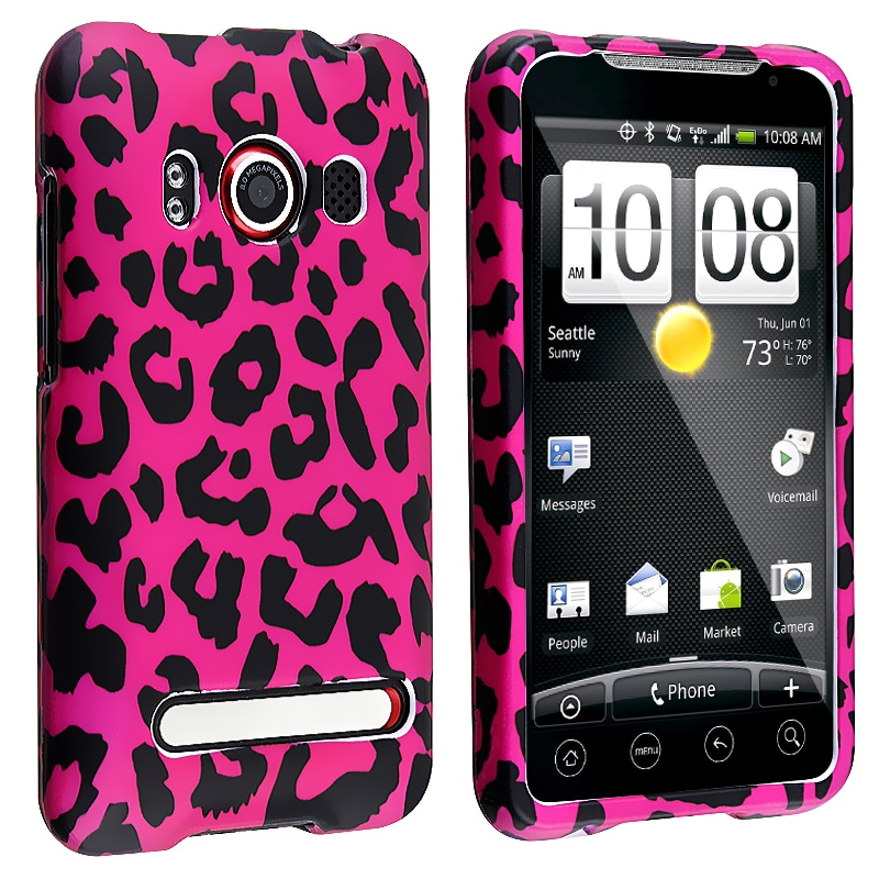 Pink Leopard Snap-on Rubber Coated Case for HTC EVO 4G