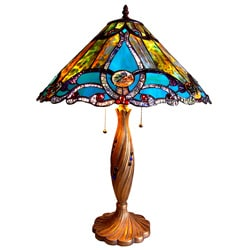 Tiffany-style Victorian Design 2-light Table Lamp
