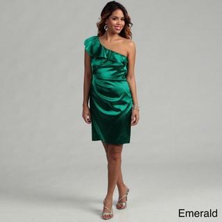 Hailey Adrianna Papell Women's Stretch Satin One Shoulder Ruffle Dress  FINAL SALE