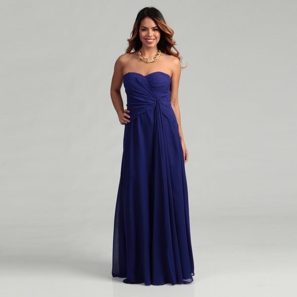Hailey Adrianna Papell Sapphire Pleated Chiffon Dress