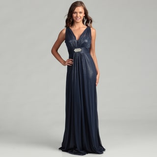 Hailey Adrianna Papell Women's Navy Rhinestone Brooch Dress