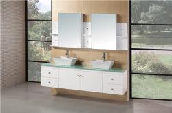 Design Element Portland Double Sink Pearl White Oak Bathroom Vanity Set