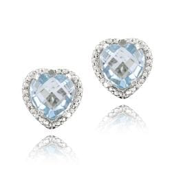 Glitzy Rocks Sterling Silver Blue Topaz and Diamond Earrings (4 1/3ct TGW)