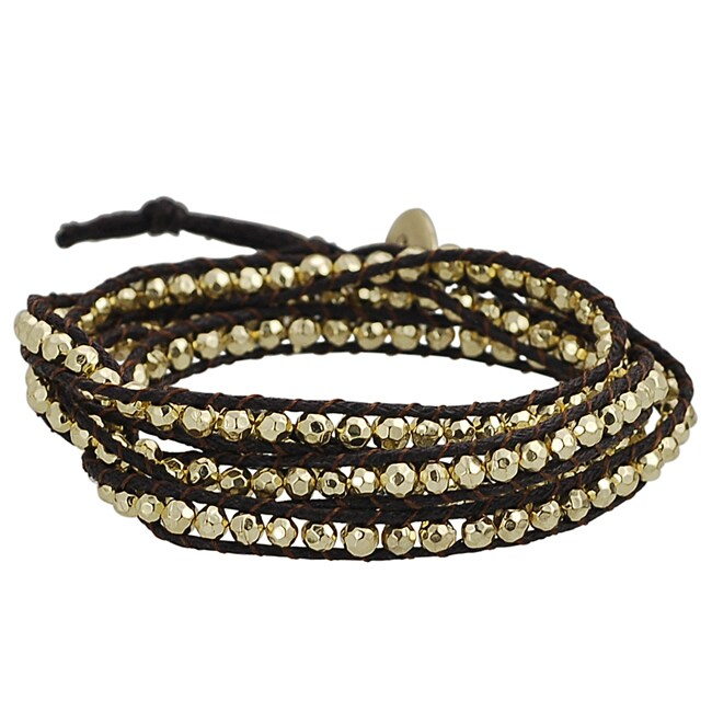 Goldtone Beaded Wrap-around Bracelet
