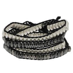 Silvertone and Black Beaded Wrap-around Bracelet
