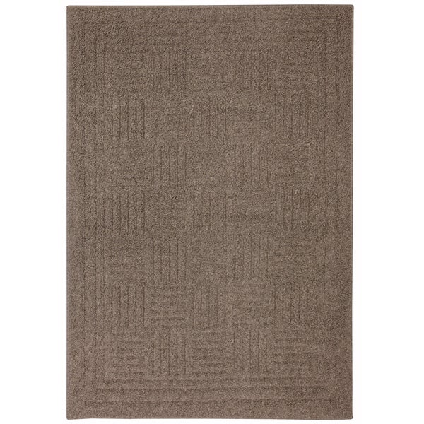 Grid Iron Taupe Solid Rug (3'3 x 4'8)