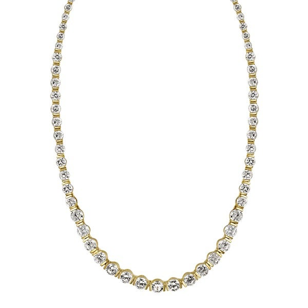 Icz Stonez Gold over Silver Cubic Zirconia 17-inch Necklace (32ct TCW)