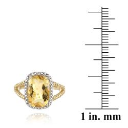 Glitzy Rocks 18k Yellow Gold over Silver Citrine and Diamond Ring (5 1/10ct TGW)