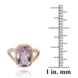 Glitzy Rocks Rose Gold over Silver Amethyst and Diamond Ring (5 1/10ct TGW)