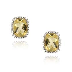 Glitzy Rocks 18k Gold over Silver Citrine and Diamond Earrings (4ct TGW)