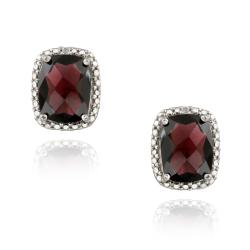 Glitzy Rocks Sterling Silver Garnet and Diamond Earrings (5 1/2ct TGW)