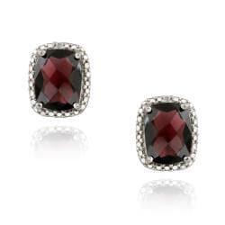 Glitzy Rocks Sterling Silver Garnet and Diamond Earrings (5 1/2ct TGW)
