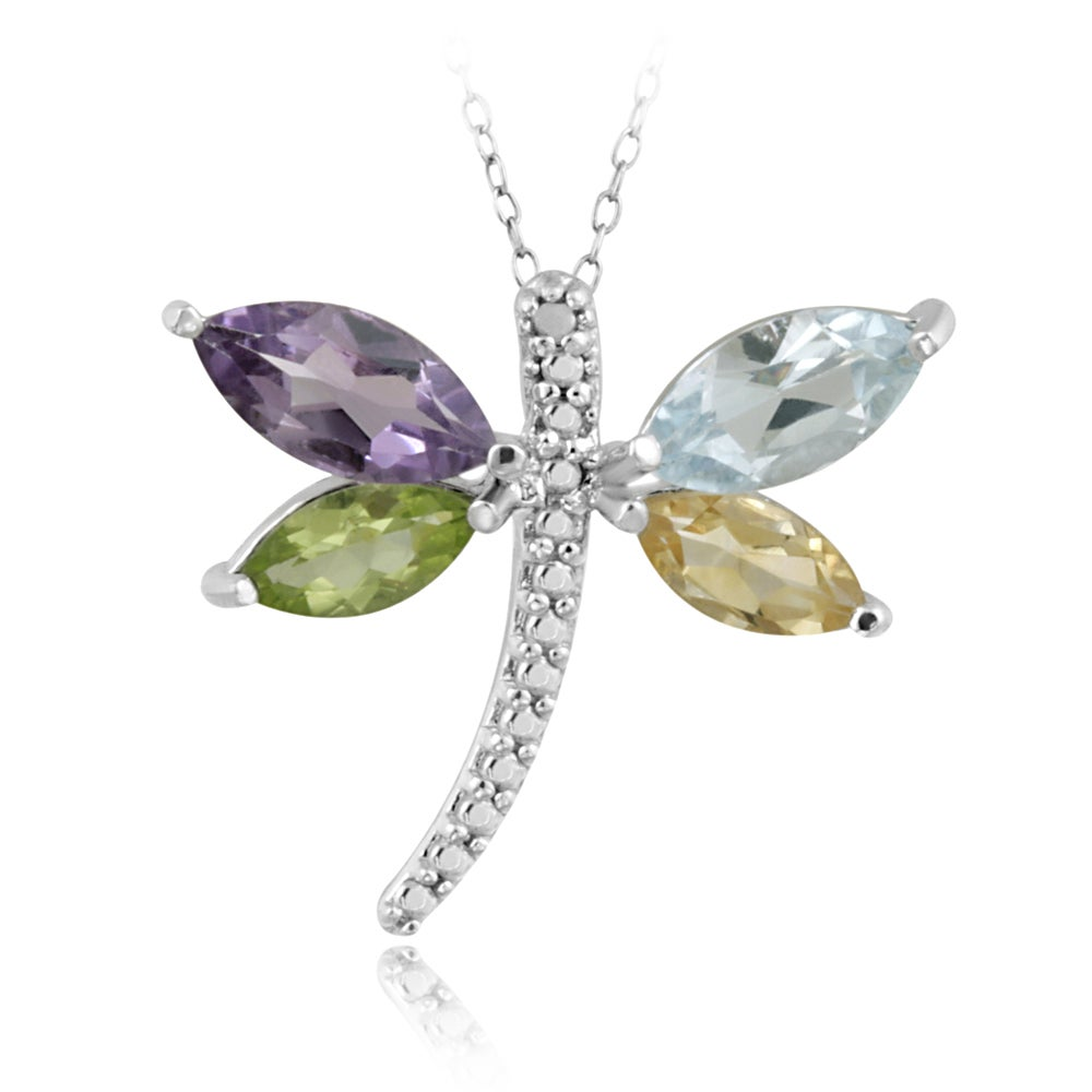 Glitzy Rocks Sterling Silver Multi-gemstone and Diamond Dragonfly Necklace