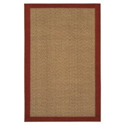 Reed Crimson Red/Tan Polyester Rug (5' x 8')