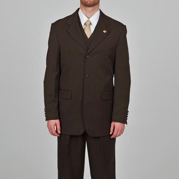 Stacy Adams Men's Dark Brown 3-button Vested Suit